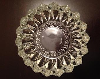 Heavy Cut Glass Trinket Dish or Ashtray - Mid Century Modern - circa 1970's