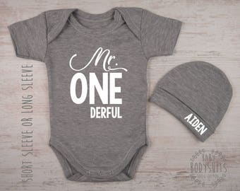 1 year old boy etsy 1st birthday boy gift mr onederful gray bodysuit personalized hat first birthday negle Image collections