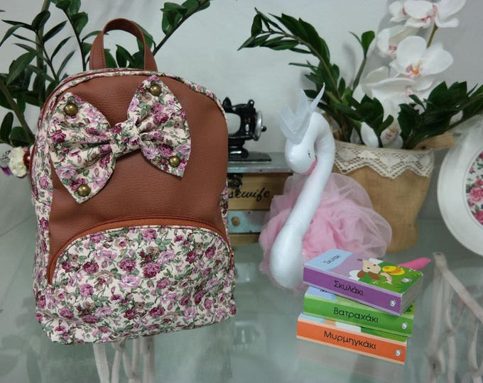 Baby School Caramel Brown Floral Backpack