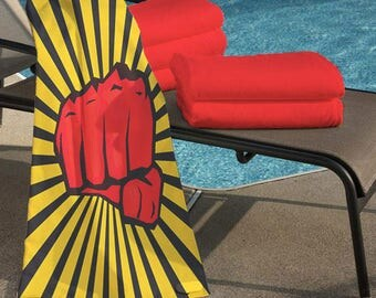 """Beach Towel """"Fist of Red"""""""