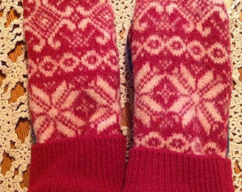 Handmade 100%Wool Up-cycled Sweater  mitts with fleece lining
