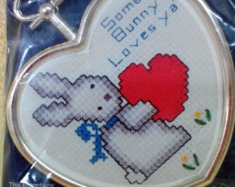 Kit-Cross Stitch Picture, Some Bunny Loves Ya, with gold frame, Kit # CM 821 by Dale Burdett Publications, Vintage
