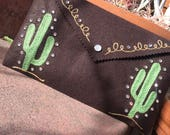 Chainstitch embroidered Saguaro clutch purse!