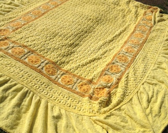 1960s, 1970s, Yellow, Orange, Double, Candlewick, Bedspread