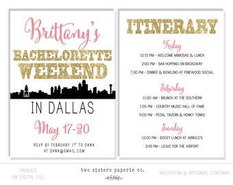 Dallas Bachelorette Party Invitation & Itinerary - DALLAS Bachelorette Party - Texas Bachelorette - Dallas Skyline - Dallas Itinerary