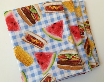 Picnic Cookout Summer 12x12 Cotton Cloth Napkins, Set of 6