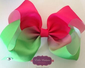 8 inch ombré bows hot pink and green