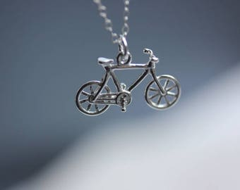 Handmade sterling silver bike necklace rachel pfeffer 925 sterling silver bike necklace bicycle pendant necklace sports jewelry bike jewelry aloadofball Gallery