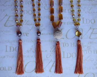 Multicolor tassel necklace