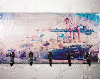 Key board Shabby-Chic * HAMBURG * EUROKAI * 24 x 12 cm - 5 hooks