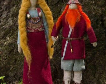 Viking gods dolls Thor and gold-haired Sif. Hand-made. OOAK