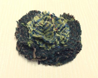 Welsh tweed flower brooch, corsage in dark and light green