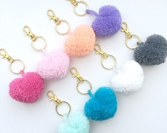 Heart Shaped Pom Pom Gold or Silver Keychain *Choose Your Color*