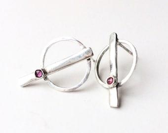 Ruby earrings- Geometric earrings- Ethical jewellry- Geometric studs- Ruby studs- Cancer birthstone- Unusual earrings- Ethical jewellery