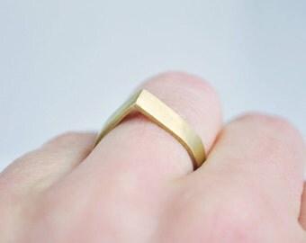 mattierter Messing Ring, geometrischer Ring, Minimalistisch