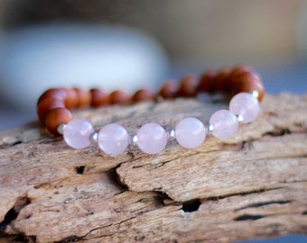 Rose Quartz Gemstone Bracelet , Aromatic Sandalwood Bracelet, Stacking bracelet, Yoga Bracelet, Aromatic Beads, Buddhist MALA Bracelet.
