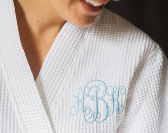 Personalized Mother's Day Gift Kimono Waffle Weave Robe with Monogram for Mom or Wife - White or Colored