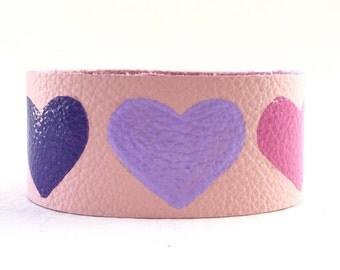 Valentines Day Gift, Valentines Gift, Valentines for Kids, Heart Bracelet, Kids Jewelry, Cute Bracelets, Pink Leather Bracelet with Hearts