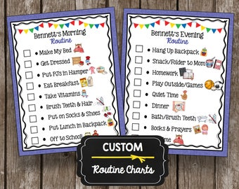 Custom Routine Chart - Printable Kids Chore Poster - Morning - Evening - Bedtime - After School - PDF - Blue - Boy