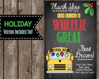 Bus Driver Card - EDITABLE - Printable DIY Thank You Tag - Merry Christmas - Happy Holidays - Teacher Appreciation - Chalkboard PDF