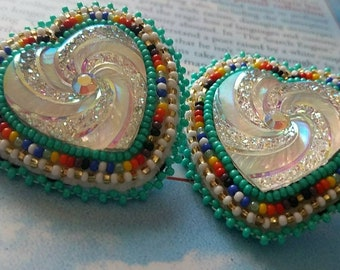 Silver and turquoise hearts