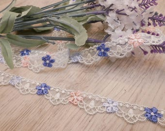 2Yards Multicolour  lovely Lace Trim Flowers Floral Embroidered Talle Lace 0.5 Inches