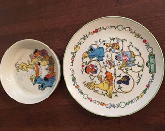 Vintage Sesame Street Muppets Two Piece Set Gorham Fine China Bowl and Plate 1976
