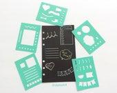 Planner Stencils, Set of 5 Teal Mini BUJO Planner Stencils, Bullet journal stencil, Planner Insert Stencil, flex plastic planner stencils