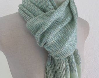 Handcrafted pale green linen and Heather grey mohair wool knit scarf