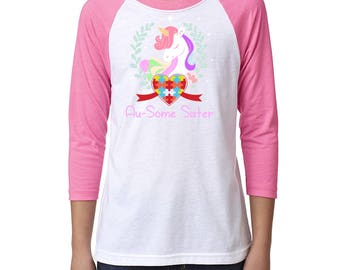 Au-some Sister of Autistic Brother or Sister Autism Awareness | Youth 3/4th Sleeve Raglan Shirt