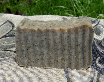 Old Fashioned  Lard and Lye Soap  for Oily Skin with Plantain Charcoal, Peppermint Essential Oil and Sage. Herbal Lye Soap