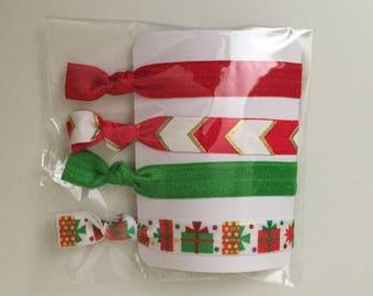 Christmas Hair Elastics - No Crease Fold Over Elastic Hair Ties - Pack of 4