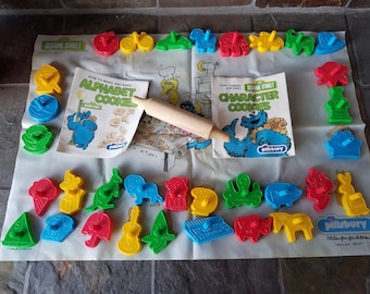 1977 Seasame Street Letter And Character Cookie Cutters And Baking Sheet By Pillsbury