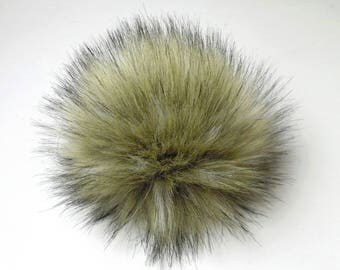 Size L ( beige 2 ) faux fur pom pom 6 inches/ 15cm