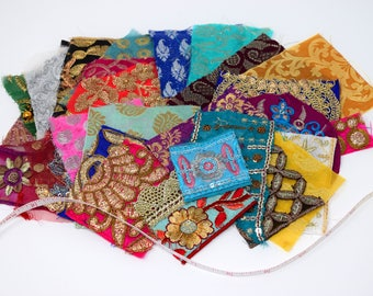 25 Boho Bohemian Sparkly Metallic Indian Fabric Swatches Samples