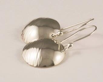 Sterling Silver Disk Earrings, Hammered Silver Earrings, Domed Disk Earrings, Textured Silver Earrings, Boho Gypsy Earrings