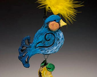 Whimsical ceramic bird in pear tree ornament with plumage