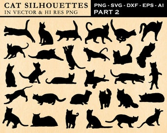 Cat SVG, Cat Silhouette SVG Cut Files, Cat Clipart, Cat Silhouette Cut Files Vector svg dxf eps png - Silhouette Cameo Cricut Transfer