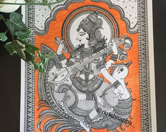 Hindu Goddess Saraswathi Home Decor Art Print - large