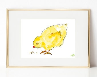 Baby chick DIGITAL DOWNLOAD, Easter Printable Art, Spring Printable Art, Baby animals, Nursery Art, Farm animals artwork, baby chicken