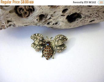 ON SALE Vintage Antiqued Gold Tone Austrian Rhinestones Insect Pin 10416
