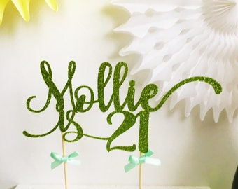 21st Birthday Cake Topper, Red Glitter 21st Topper, Twenty One, Custom Name, Age, Colour, Celebration Cake Topper, Party Cake Decor