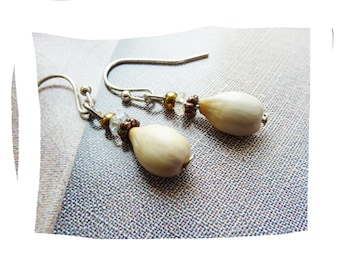 Natural seed and glass earrings
