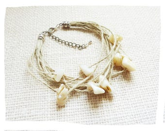 Rustic bracelet wide natural hemp and shell beads