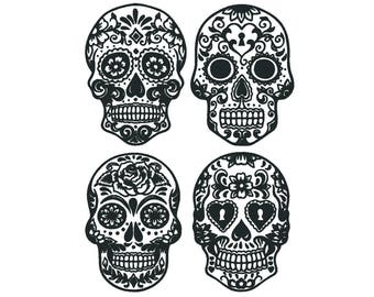 Sugar Skull Machine Embroidery Design Set - 2 Sizes - 8 Formats - Dia de los Muertos - Halloween - PES - Candy Skull Embroidery Patterns