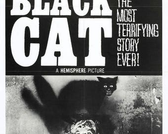 Back to School Sale: THE BLACK CAT Movie Poster 1966 Edgar Allan Poe Horror Classic
