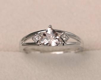 Promise ring, natural pink morganite ring, trillion cut pink gemstone, sterling silver ring