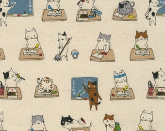1/2 meter Lecien Japan L Collection Cotton Oxford   40918-10 Beige   Kitty Cat School Life