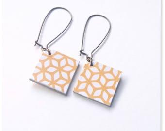 Earrings sleepers, graphics, mustard yellow earrings, geometric earrings, mustard yellow, yellow boho earrings