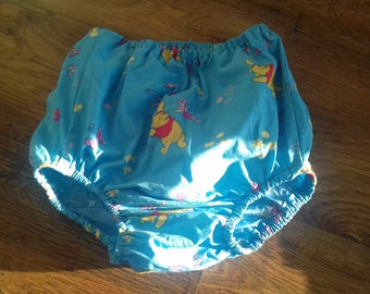 Adult Baby Waterproof blue Winny Pooh design forward facing legs pants/nappy covers with blue vinyl lining